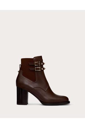 VALENTINO GARAVANI Women Ankle Boots - Calfskin Rockstud Ankle Boot 70 Mm Women Fondant 74% Polyester 26% Rubber 36.5