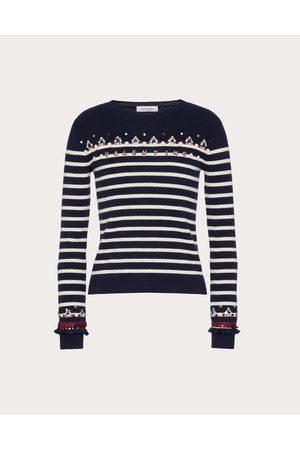 VALENTINO Embroidered Wool Sweater Women Navy/ivory 100% Virgin Wool M