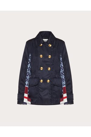 VALENTINO Women Coats - Printed Nylon Pea Coat Women Light / 100% Poliammide 36
