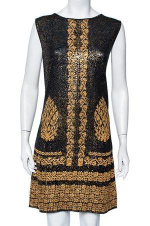 CHANEL & Gold Printed Jacquard Knit Sleeveless Shift Dress L