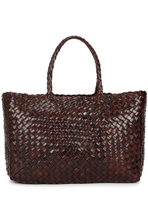 Dragon Diffusion Women Tote Bags - Lunch dark brown woven leather tote