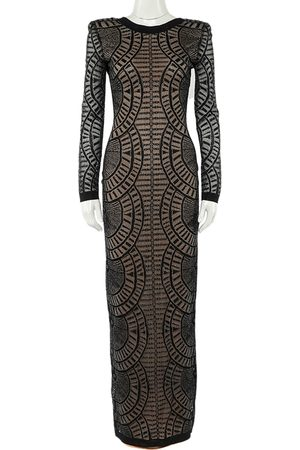 Balmain Perforated Stretch Knit Long Sleeve Dress S