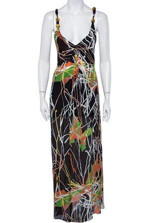 M Missoni Printed Silk Sleeveless Maxi Dress M