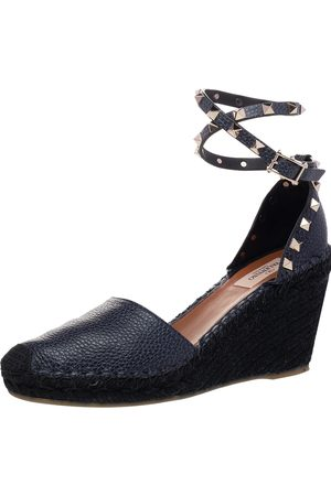 VALENTINO Leather Rockstud Espadrille Wedge Sandals Size 39