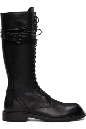 ANN DEMEULEMEESTER Black Leather Knee-High Boots