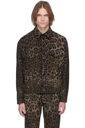 Dolce & Gabbana Men Denim Jackets - Black & Brown Denim Leopard Jacket
