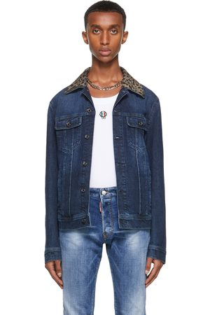 Dolce & Gabbana Men Denim Jackets - Navy Denim Leopard Jacket
