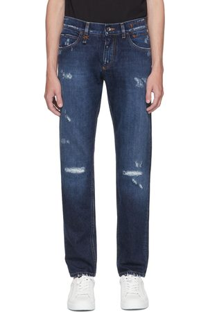 Dolce & Gabbana Men Slim - Blue Distressed Slim Jeans