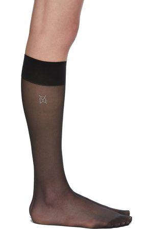 Wolford Black Amina Muaddi Edition Long Crystal Logo Socks