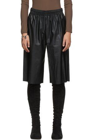 MM6 MAISON MARGIELA Women Culottes - Black Faux-Leather Culotte Shorts