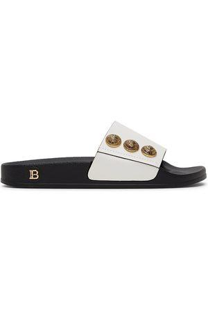 Balmain White & Black Symi Slides