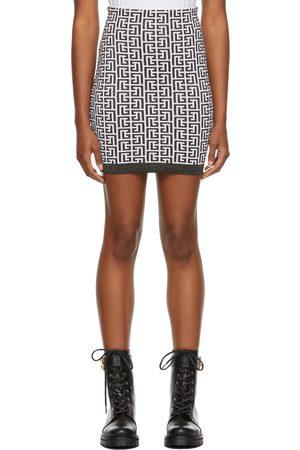 Balmain Black & White Knit Monogram Miniskirt