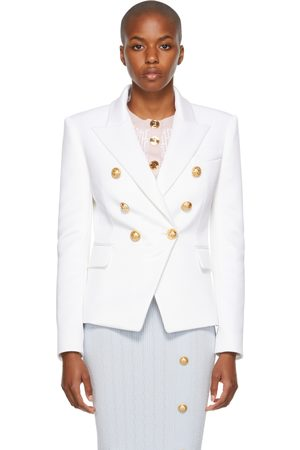 Balmain White Jersey 6-Button Blazer