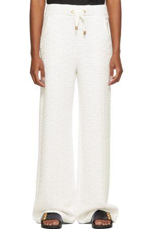 Balmain White Nylon Embossed Monogram Lounge Pants