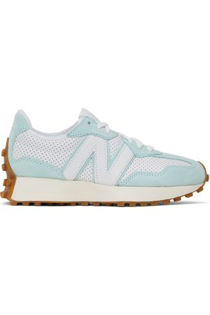 New Balance White & Blue 327 Sneakers