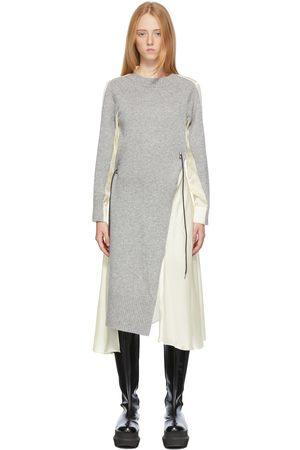 SACAI Grey & Beige Wool Knit Dress