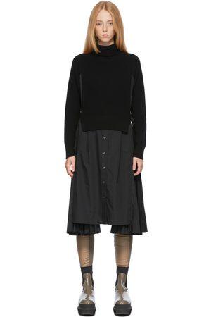 SACAI Women Knitted Dresses - Black Knit Pleated Dress
