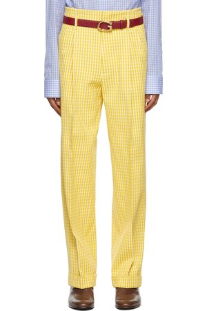 Gucci Yellow & Off-White Vichy Crepe Trousers