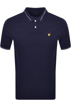 Lyle & Scott Branded Collar Polo T Shirt Navy
