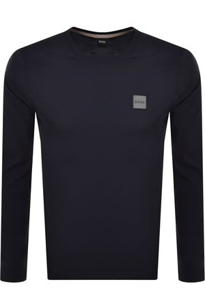 HUGO BOSS Men Long Sleeve - BOSS Long Sleeved Tacks T Shirt Navy