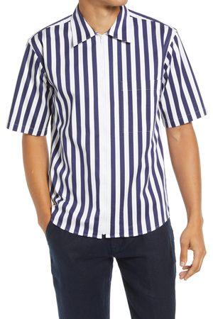 NN07 Men's Idi 1712 Stripe Short Sleeve Zip-Up Shirt