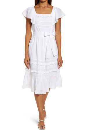 Draper Women's Tie Waist Cotton Poplin Midi Dress