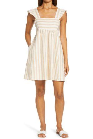 Draper Women's Stripe Linen & Cotton Babydoll Minidress