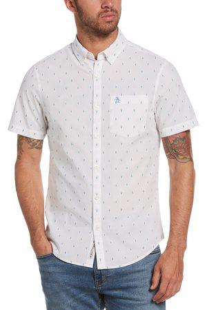Original Penguin Men's Regular Fit Diamond Print Short Sleeve Button-Down Shirt