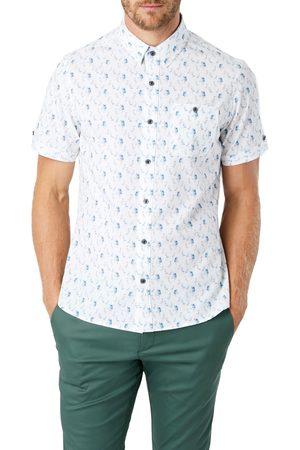 7 Diamonds Men's Endless Enigma Trim Fit Floral Short Sleeve Button-Up Shirt
