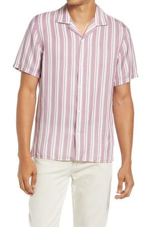 NN.07 Men's Errico 5036 Stripe Short Sleeve Lyocell & Linen Button-Up Camp Shirt