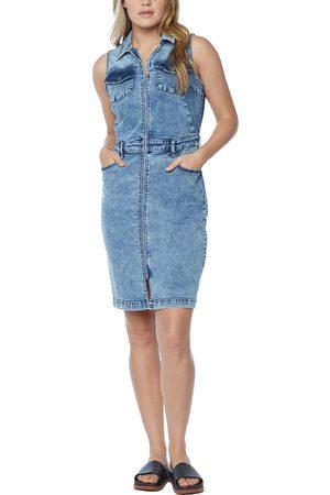 WASH LAB Women's Sleeveless Denim Shirtdress