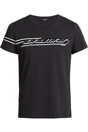Balmain Men T-shirts - Flock Print Logo T-Shirt