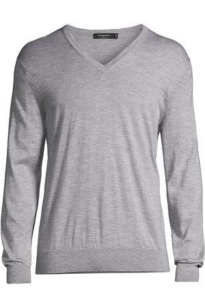 Ermenegildo Zegna Men Sports Hoodies - Cashseta V-Neck Sweater