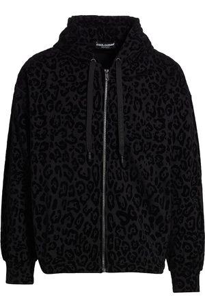 Dolce & Gabbana Men Hoodies - Leopard-Print Flocked Zip Hoodie