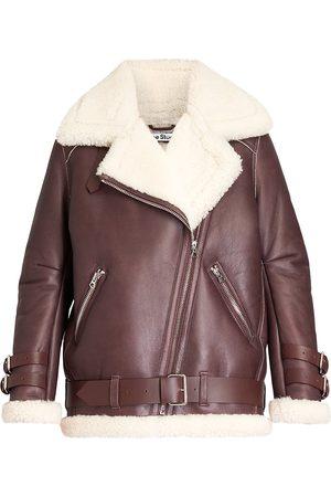 Acne Studios Women Leather Jackets - Oversized Shearling Biker Jacket