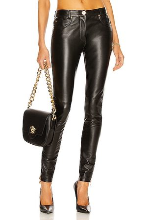 VERSACE Leather Skinny Pant in