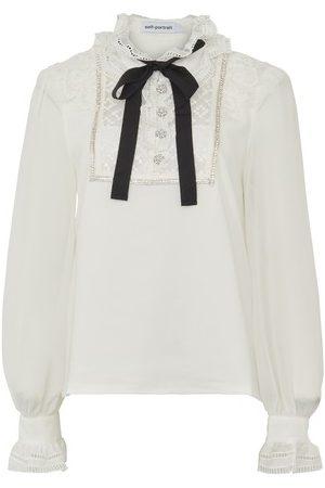 Self-Portrait Lace-trimmed blouse