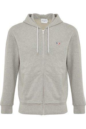 Maison Kitsune Tricolor fox patch zipped hoodie
