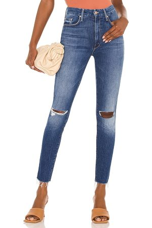 Mother High Waisted Looker Ankle Fray in Blue.