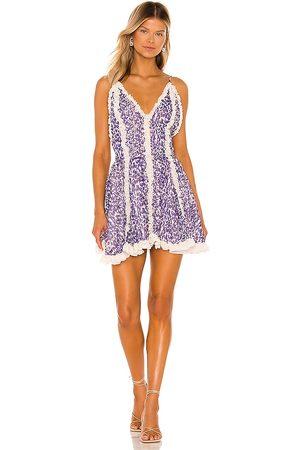 CHIO Frill Mini Dress in Purple.