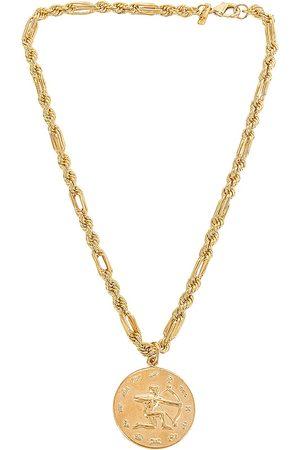 Martha Calvo Zodiac Medallion Necklace in Metallic .