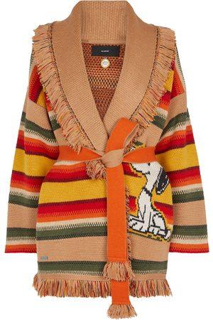 Alanui X Peanuts® Gaucho striped wool-blend cardigan