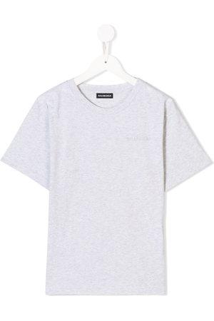 Balenciaga Boys T-shirts - Logo embroidered T-shirt - Grey