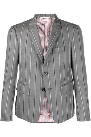 Thom Browne Stripe-pattern single-breasted blazer jacket - Grey