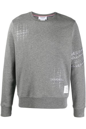Thom Browne Embroidered stripe cotton sweatshirt - Grey