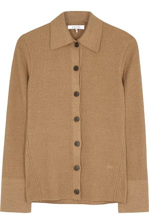 Frame Camel cotton ribbed-knit cardigan