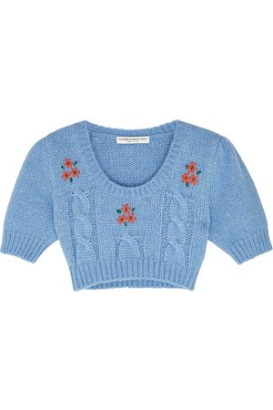 Alessandra Rich Embroidered cropped alpaca-blend jumper