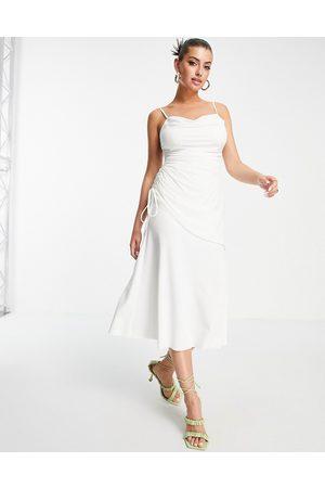 ASOS Women Asymmetrical Dresses - Cami cowl linen mix asymmetric ruched maxi dress in ivory