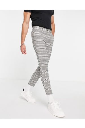 New Look Cropped slim suit pants in check-Grey