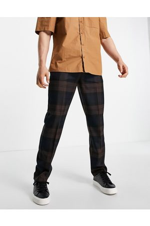 River Island Men Chinos - Checked pants in brown and navy